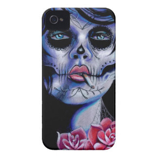 Live Fast Die Young Day of the Dead Portrait iPhone 4 Case-Mate Case