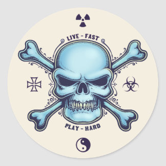 Live Fast, Play Hard Classic Round Sticker