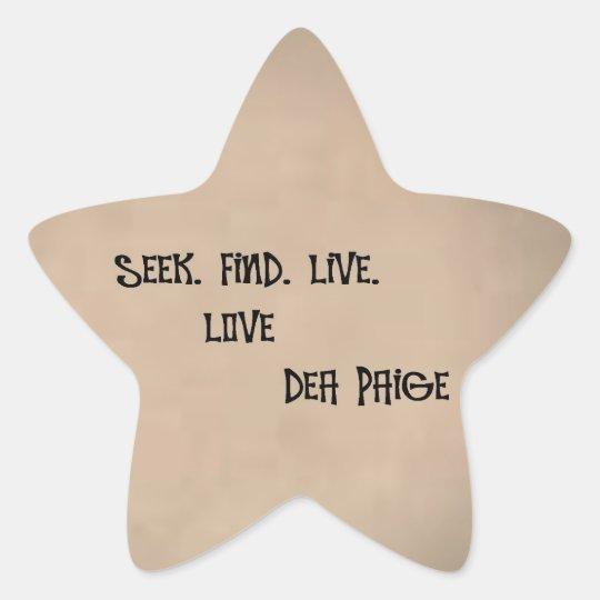 live find seek love star sticker