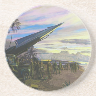 Live Fire at Kahuku by Jim Dietz Sandstone Coaster