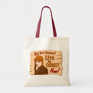 Live for Christ adventure Christian gift design Tote Bag