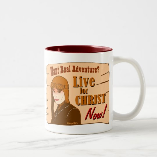 Live for Christ adventure Christian gift design Two-Tone Coffee Mug