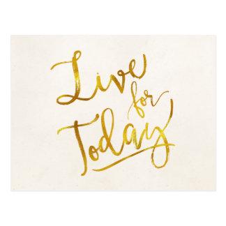 Live for Today Gold Faux Foil Metallic Motivationa Postcard