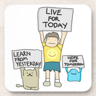 Live for Today Hard Plastic coasters with corkback