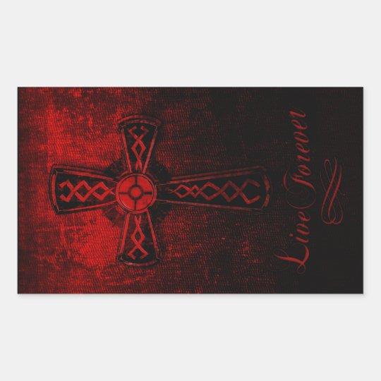 Live Forever Cross Rectangular Sticker