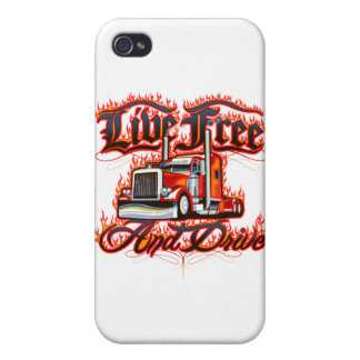 Live Free and Drive Trucker Shirt iPhone 4 Cases