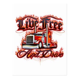 Live Free and Drive Trucker Shirt Postcard