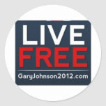 Live Free Gary Johnson for President 2012 Classic Round Sticker