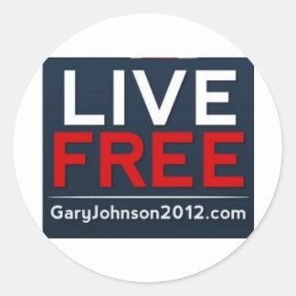 Live Free Gary Johnson for President 2012 Sticker