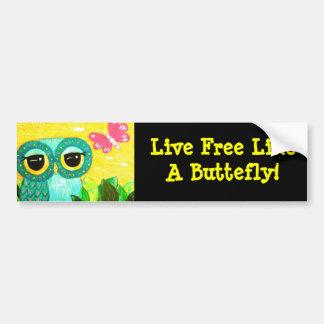 Live Free Like A Butterfly Owl Bumper Sticker