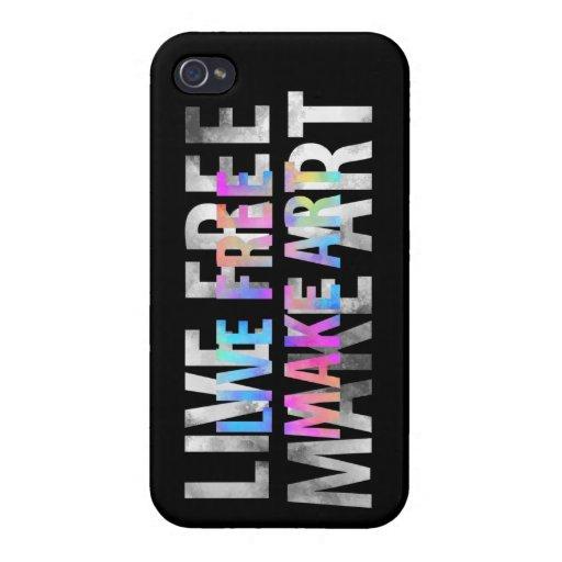 LIVE FREE MAKE ART Rainbow Black iPhone Case