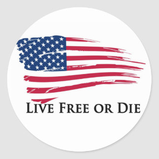 Live Free Or American Flag - New Hampshire Round Sticker