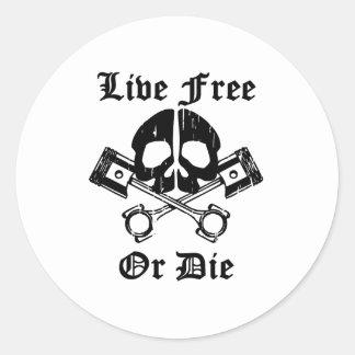 Live Free Or Die Gear Skull Round Sticker