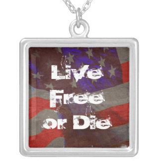 Live Free or Die - Grunge Flag Pendant