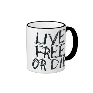 Live free or Die Ringer Coffee Mug