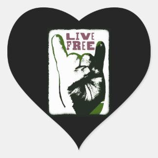 Live Free Pop Art design Heart Sticker