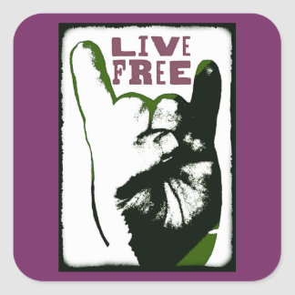 Live Free Pop Art design Square Sticker