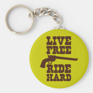 LIVE FREE RIDE HARD cowboy rodeo motto Keychain