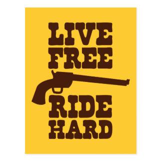 LIVE FREE RIDE HARD cowboy rodeo motto Postcard