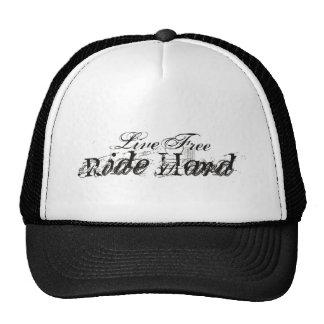 Live Free Ride Hard Trucker Hats