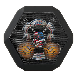 Live Free Skull and Guitars - Customize Black Bluetooth Speaker