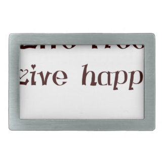 live free trend chic quote with funny text rectangular belt buckle