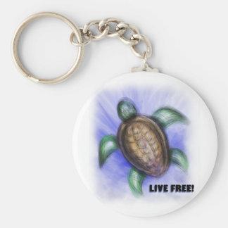 Live Free Turtle Keychain