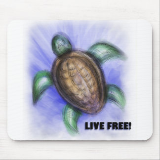 Live Free Turtle Mouse Pad