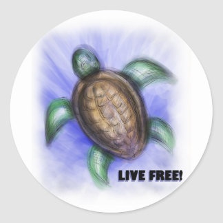 Live Free Turtle Classic Round Sticker