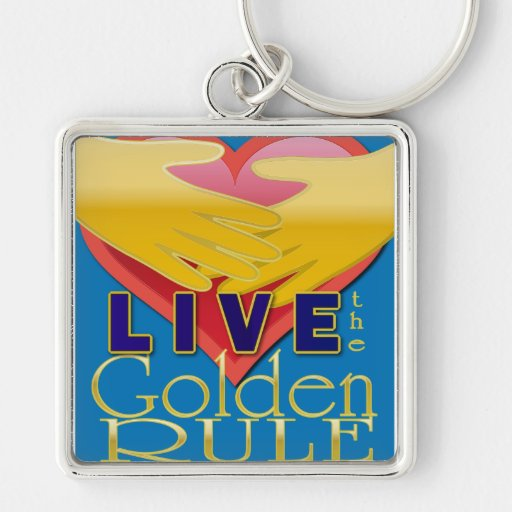 live golden rule stop bullying Silver-Colored square keychain
