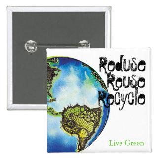 Live Green 2 Inch Square Button
