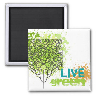 Live Green 2 Inch Square Magnet