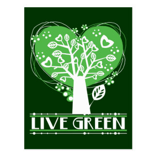 Live Green Abstract Tree Postcard