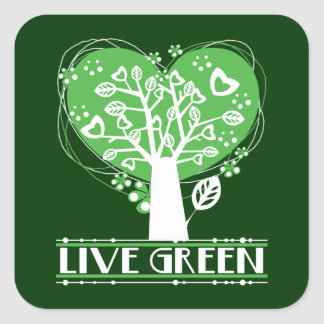 Live Green Abstract Tree Square Sticker