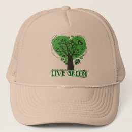 Live Green Abstract Tree Trucker Hat