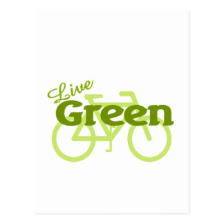 live green bike postcard