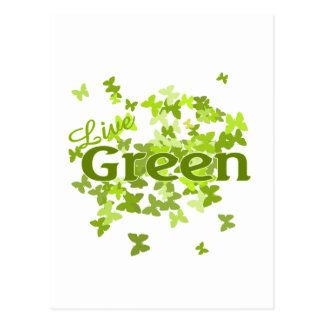 live green butterfly postcard