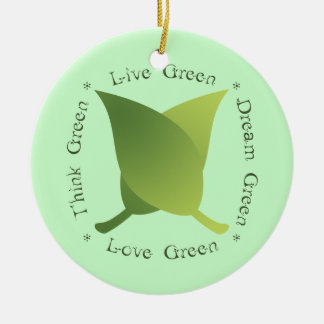 Live Green Dream Green Love Green Think Green Double-Sided Ceramic Round Christmas Ornament