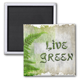 LIVE GREEN Eco Enviro Gift Items for Earth Day 2 Inch Square Magnet