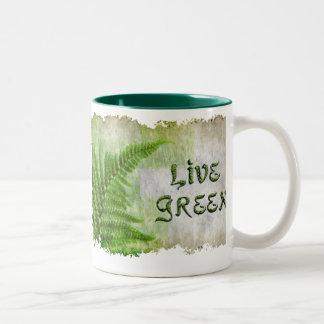 LIVE GREEN Eco Enviro Gift Items for Earth Day Two-Tone Coffee Mug