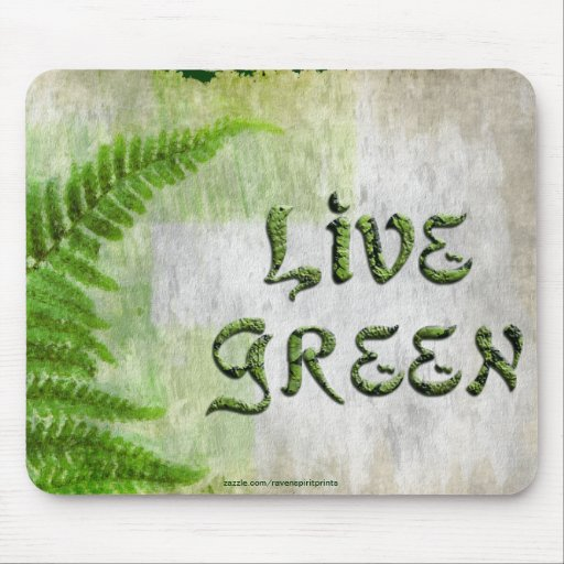 LIVE GREEN Eco Enviro Gift Mousepad for Earth Day