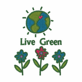 Live Green Emrboidered Earth Day Tees