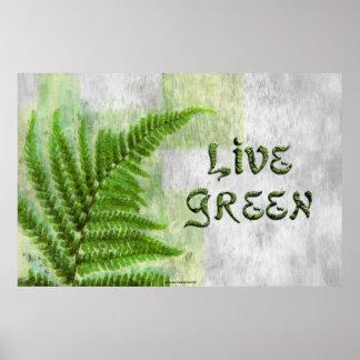 LIVE GREEN Environmental Eco Art Poster