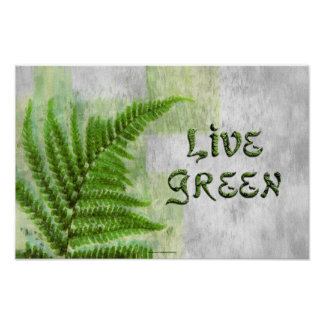 LIVE GREEN Environmental Eco Art Poster