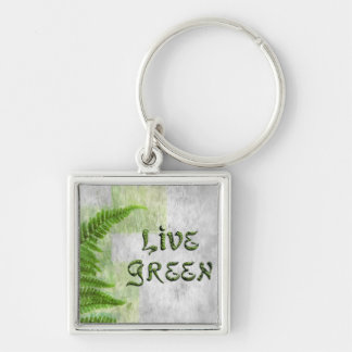 LIVE GREEN Fern Keychain, Zipper-Pull, ID Tag Silver-Colored Square Keychain