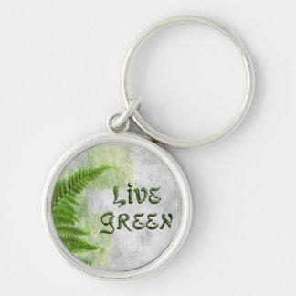 LIVE GREEN Fern Keychain, Zipper-Pull, ID Tag Keychain