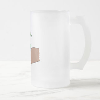 live green frosted glass beer mug