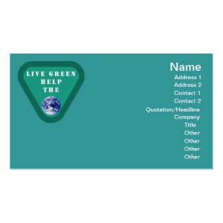 Live Green Help The Planet Business Card