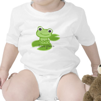 Live Green in this frog lily pad design Rompers