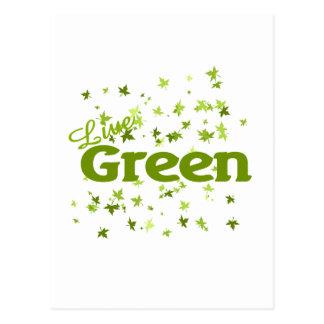 live green leaves postcard